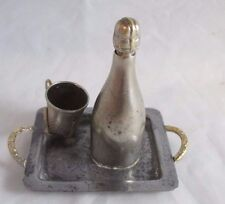RARE ANTIQUE silver wind-up Bottle on Tray TAPE MEASURE and Thimble holder Combo