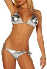L3Xw Silver Metallic Strap Bikini Tie Side Swimwear Dance wear swimsuit One Size
