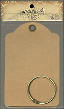 Graphic45 Staples-REGULAR KRAFT TAG ALBUM scrapbooking (6) TAGS & BRASS RING
