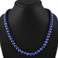 265.00 CTS NATURAL UNTREATED RICH BLUE LAPIS LAZULI ROUND BEADS NECKLACE - BEST