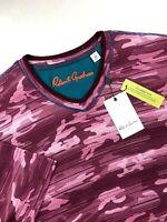 Robert Graham Camo V Neck Short Sleeve T-Shirt Classic Fit Men Sizes XL 3XL