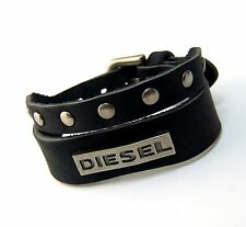 Urban Vintage style Genuine Black Leather Split Band DIESEL Bracelet