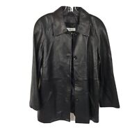 Preston York Leather Jacket Coat Lamb Skin Solid Black Button Down Womens Size L