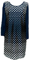 Bass & Co. Women's Navy Blue White Shift Dress Size Dress Diamond Pattern Medium