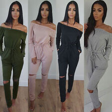 New Womens Off The Shoulder Long Sleeve Rip Knee All In One Ladies Jumpsuit 6-18