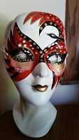Vintage Paper Mache Mardi Gras Carnival Full Face Mask Hand Painted Wearable