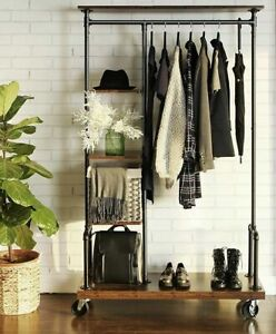 Industrial Style Wardrobe Clothes Pipe Rail Rack Storage Vintage Closet Wheels