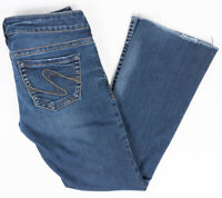 Silver Tuesday Bootcut Womens Jeans Low Rise Dark Wash Raw Hem Size 27/29