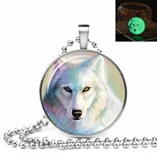 GLOW IN THE DARK WOLF LARGE PENDANT NECKLACE / Jewellery Gift Idea Snow