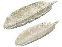 Feder Schale silber, Landhaus Shabby
