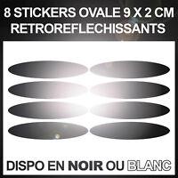 8 Stickers ovales réfléchissants pour casque moto 9x2 cm