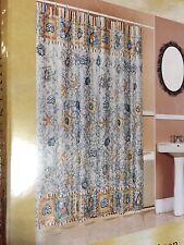 Popular Bath Brighton Sea Shells Seashells Fabric Shower Curtain Blue Browns NEW