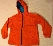 Hanna Andersson Boys Orange Hooded Fleece Lined Jacket sz 140