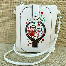 Cream Owl Cross body Bag with Smart Phone Spectacle Holder Long Strap