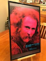 """BIG 11X17 FRAMED DAVID CROSBY """"IF I COULD ONLY REMEMBER MY NAME"""" LP CD PROMO AD"""