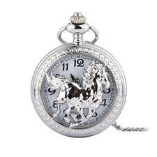Women Men Silver Horse Hollow Quartz Pendant Necklace Fob Pocket Watch Gift