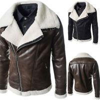 Winter Warm Men's Fur Lined PU Leather Jacket Zipper Biker Jackets Thicken Coat