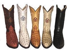Impresión de cocodrilo para hombre vaquero occidental de cuero en relieve en J del dedo del pie Botas hecho a mano