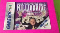 Who Wants to Millionaire Nintendo Game Boy Color Instruction MANUAL ONLY No Game