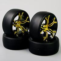 4X flach Drift Reifen &Rad Felge 12mm Sechskant für  HSP RC 1:10 On-Road Car