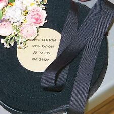 "50y Spool 5/8"" Rayon Cotton Navy Grosgrain Ribbon Millinery Hat Trim Vtg Antique"