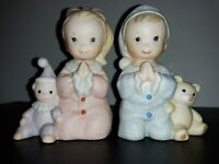 HOMCO Praying Girl & Boy Porcelain Figurines w/Teddy Bears #1433👨🦳👩🦳