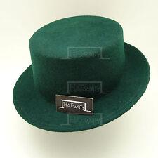 Wool Felt Boater Panama Flat Top Hat Unisex Men Women | 58cm | Green | FASHION