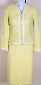 ST.JOHN Couture Womens Knit Yellow White Embroidered Trim Jacket & Skirt Sz 4-6