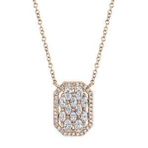 Marquise Pear Diamond Pendant Necklace 14K Rose Gold Rectangular Dog Tag 8 Side