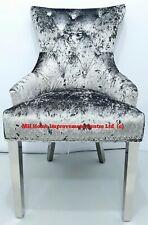 Set mit 2 Zerdrückter samt Plüsch Luxus Ess Stühle Chrom Beine Posh Silbergrau