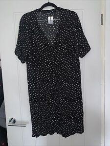 Monki - Black And White Polka Dot Dress / Size Large