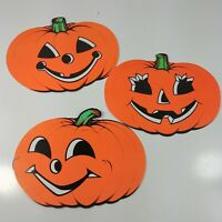 "3 Paper Die Cut Halloween Decorations Cardboard Scarecrow Pumpkins 9"""