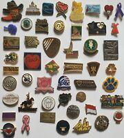 Large Lot Of 50 Collectible Miscellaneous Enamel Hat Lapel Pins -  Lot #11