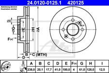 2x Bremsscheibe für Bremsanlage Vorderachse ATE 24.0120-0125.1