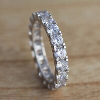 925 Sterling Silver Full Eternity Engagement 4mm CZ Band Ring Wedding I-R Sizes