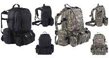 55L Outdoor Military Tactical Backpack Rucksack Camping Bag Hiking Black ACU NEW