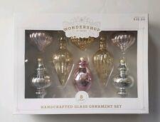 Wondershop Handcrafted Glass Ornament Set 8 Count Pink Silver Gold Target