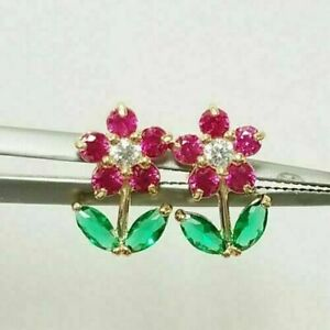 10K Yellow Gold Over Brilliant Ruby Emerald & Diamonds Tulip Rose Stud Earrings