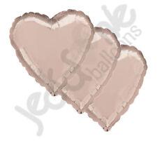 "3 pc- 18"" Solid Rose Gold Heart Balloon Wedding Baby Bridal Shower Birthday Luau"