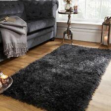 Sienna Shaggy Floor Rug Large Plain Soft Sparkle Carpet Thick 5cm Pile Charcoal