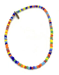 """Signed Bead Relief Colorful Seed Beaded 7"""" Bracelet"""