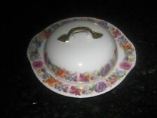 """VINTAGE """"AICH""""CZECHOSLOVAKIA ROUND CHEESE/BUTTER DISH W/LID, FLORAL PATTERN"""