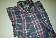 weatherproof vintage mens regular fit fleece cotton dress shirt -XL -blue plaid