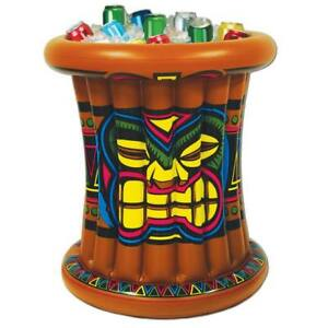 """Luau Party Tiki Inflatable Cooler 25"""" x 25"""" Holds 24 12 oz Cans Luau Decorations"""