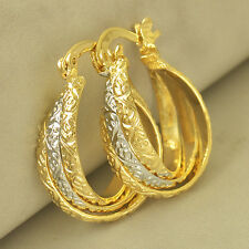 Fashion jewelry White/Yellow Gold Plated Womens small Hoop Earrings cute girls