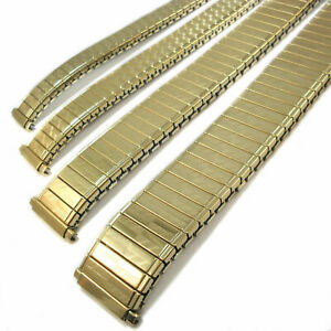 EXPANDING WATCH BRACELET Gold Plated 9mm - 20mm New Stretch Gilt Steel Band UK