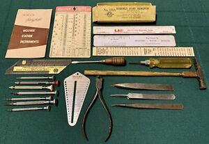 21 Vtg Antique LEVIN BestFit LINDSTROM Starrett Assorted Watch Repair Tools Lot