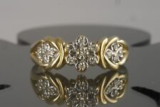 Vintage Estate 14k Yellow Gold Diamond Flower Knot Right Hand/ Engagement Ring