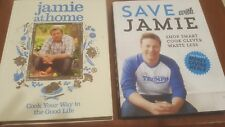 2 Vol Jamie Oliver Hardcover SET Save With Jamie and Jamie at Home