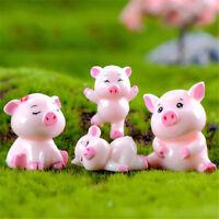 4pcs Cerdos Miniatura Hada Jardín Casa de muñecas Decoración Micro Pai*ws